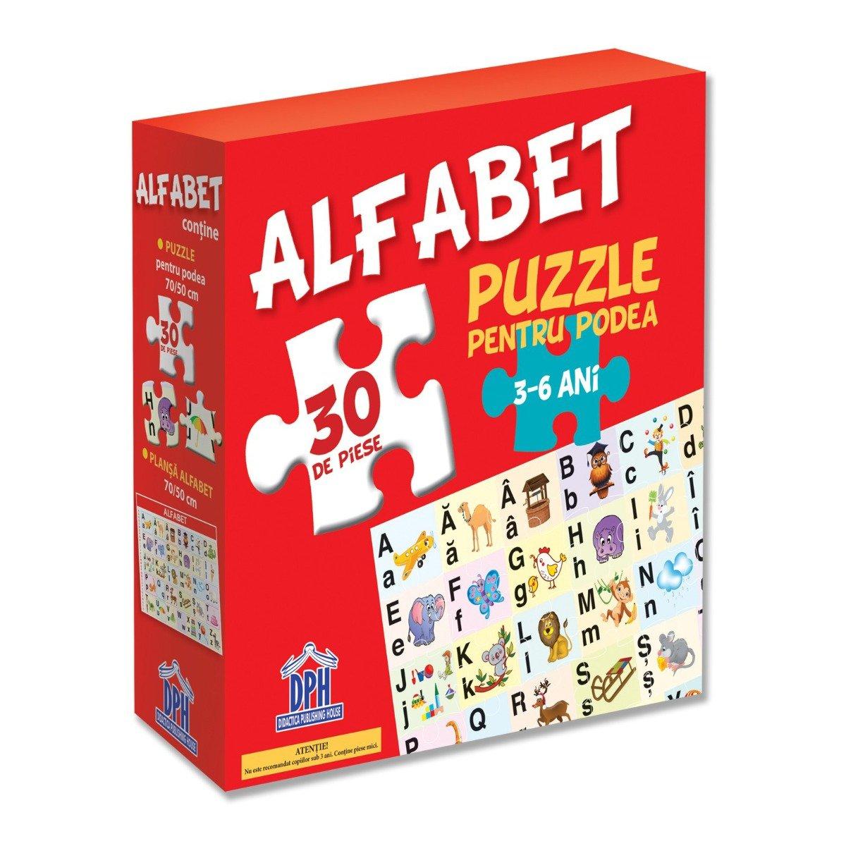 Puzzle pentru podea Editura DPH, Alfabet, 30 piese