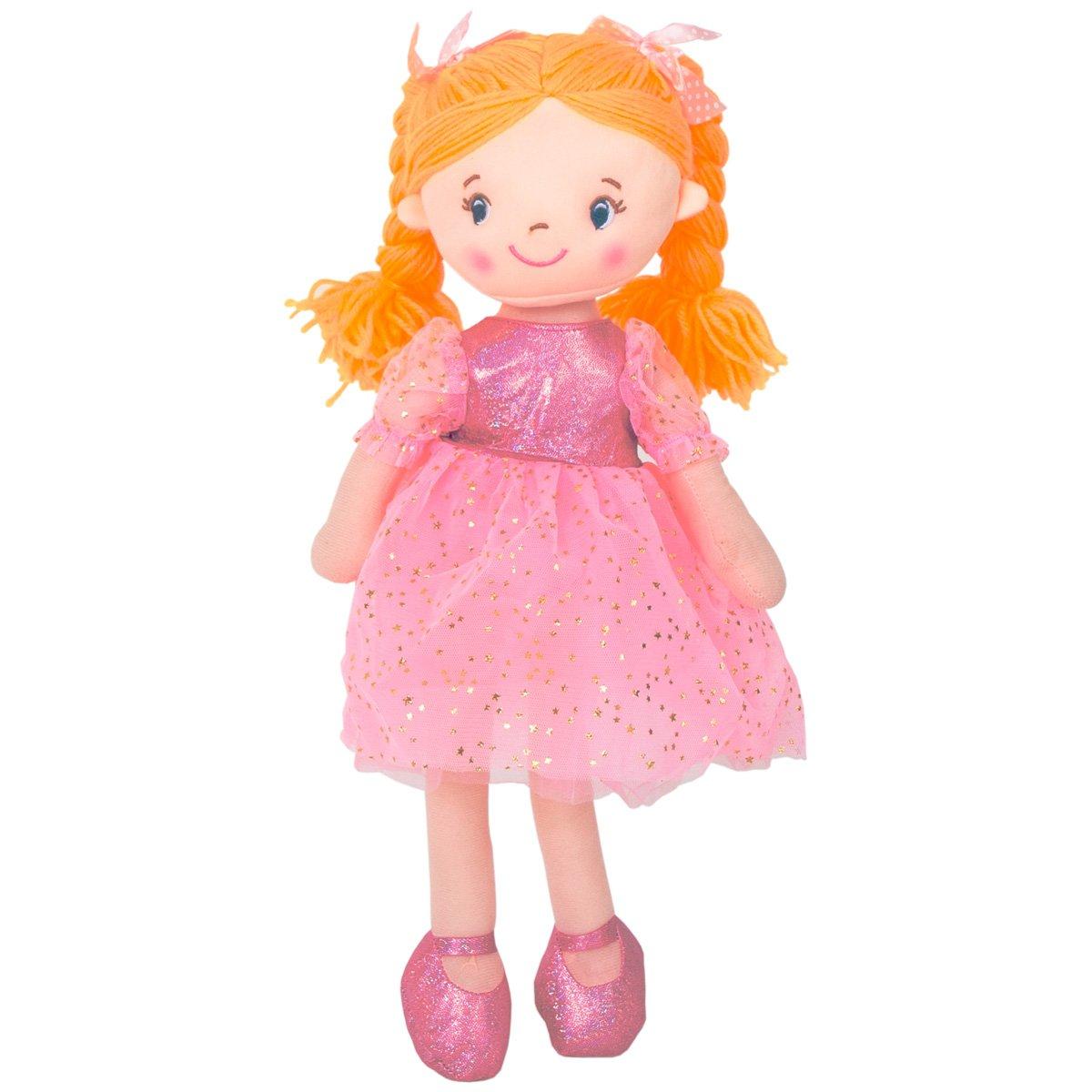 Jucarie de plus, Noriel, Balerina cu rochita si codite blonde impletite, 45 cm