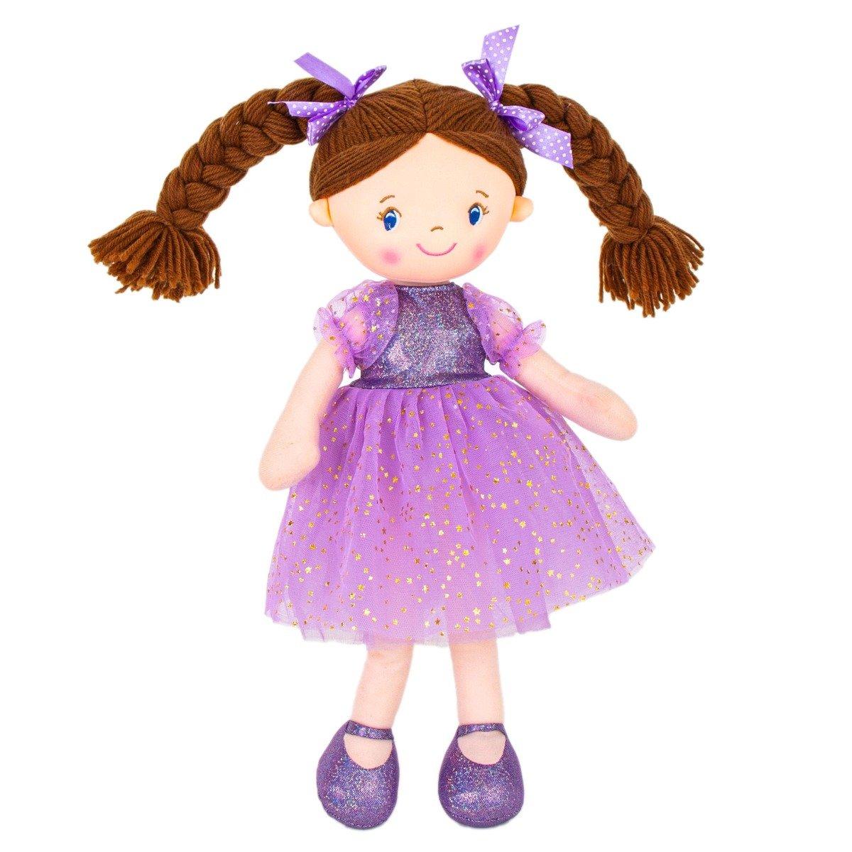 Jucarie de plus, Noriel, Balerina cu rochita si codite impletite, 45 cm