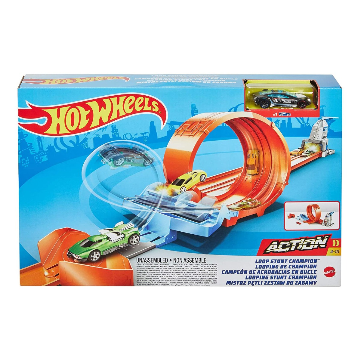 Set de joaca Circuit cu obstacole Hot Wheels, Loop Stunt Champion GTV13