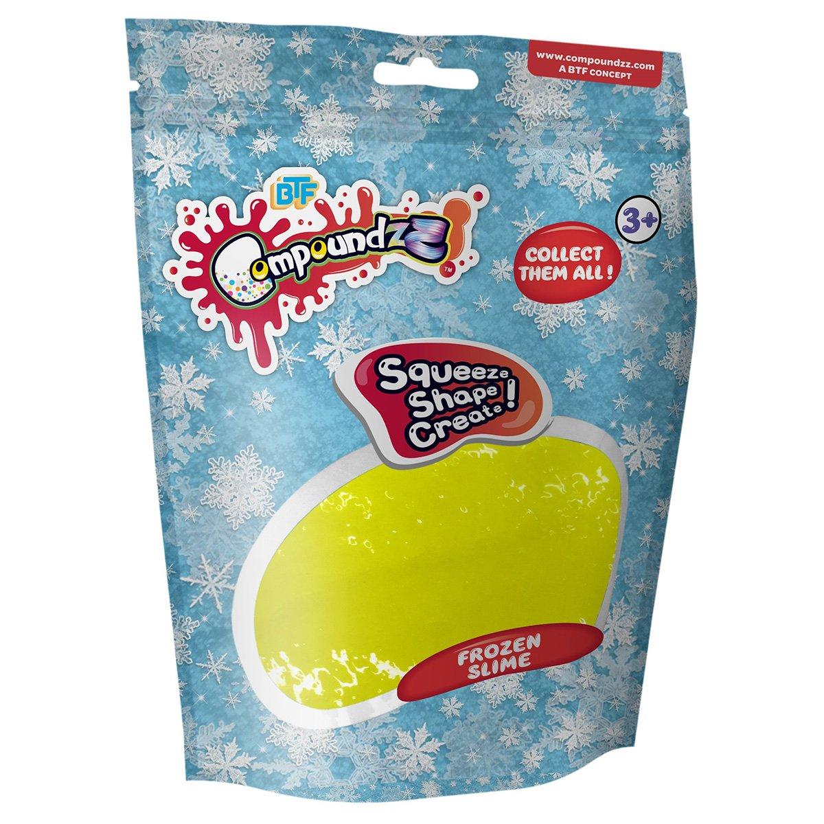 Punguta cu pasta modelatoare Compoundzz, Frozen Slime, Galben