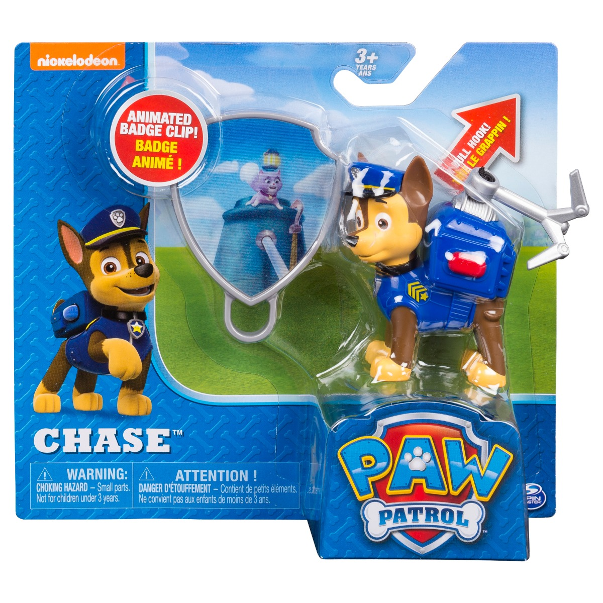 Figurina si insigna Paw Patrol - Chase (20093666)