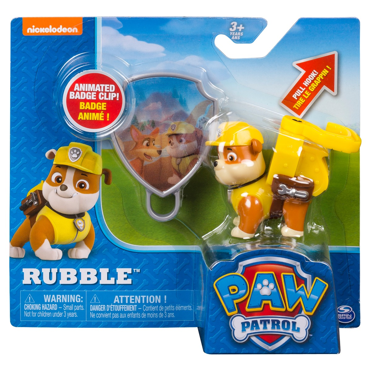 Figurina si insigna Paw Patrol - Rubble (20093668)