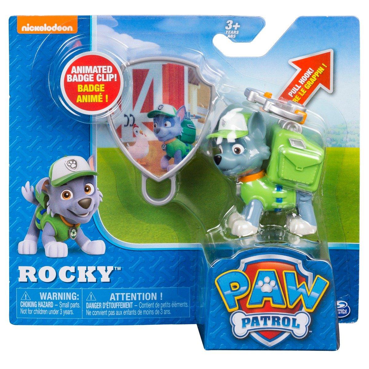 Figurina si insigna Paw Patrol - Rocky (20093670)