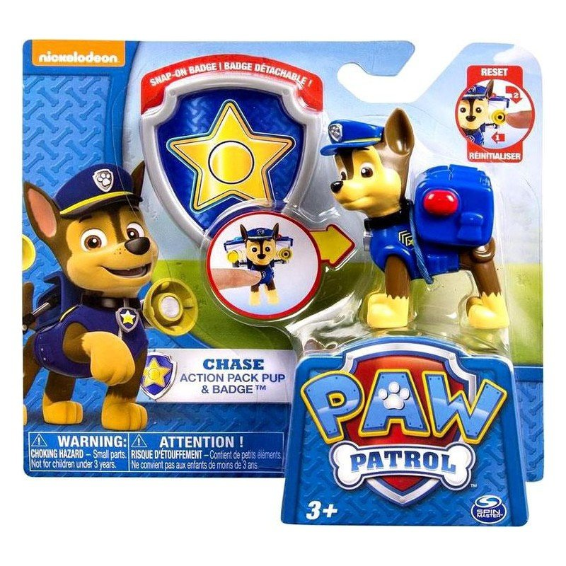 Figurina si insigna Paw Patrol - Chase (20114748)