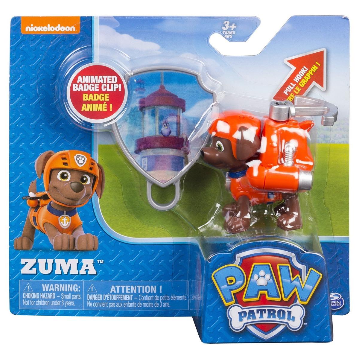 Figurina si insigna Paw Patrol - Zuma (20114171)