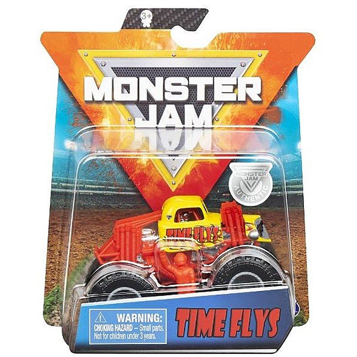 Masinuta Monster Jam, Scara 1:64, Time Flys cu figurina, Rosu