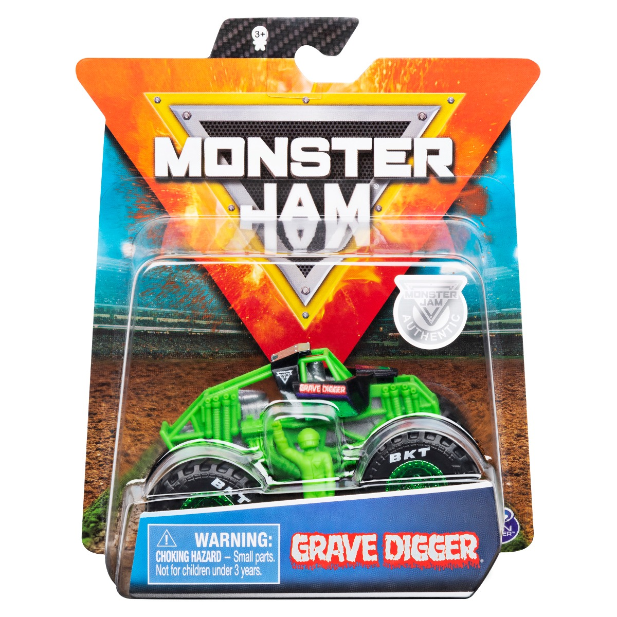 Masinuta Monster Jam, Scara 1:64, Grave Digger cu figurina, Verde
