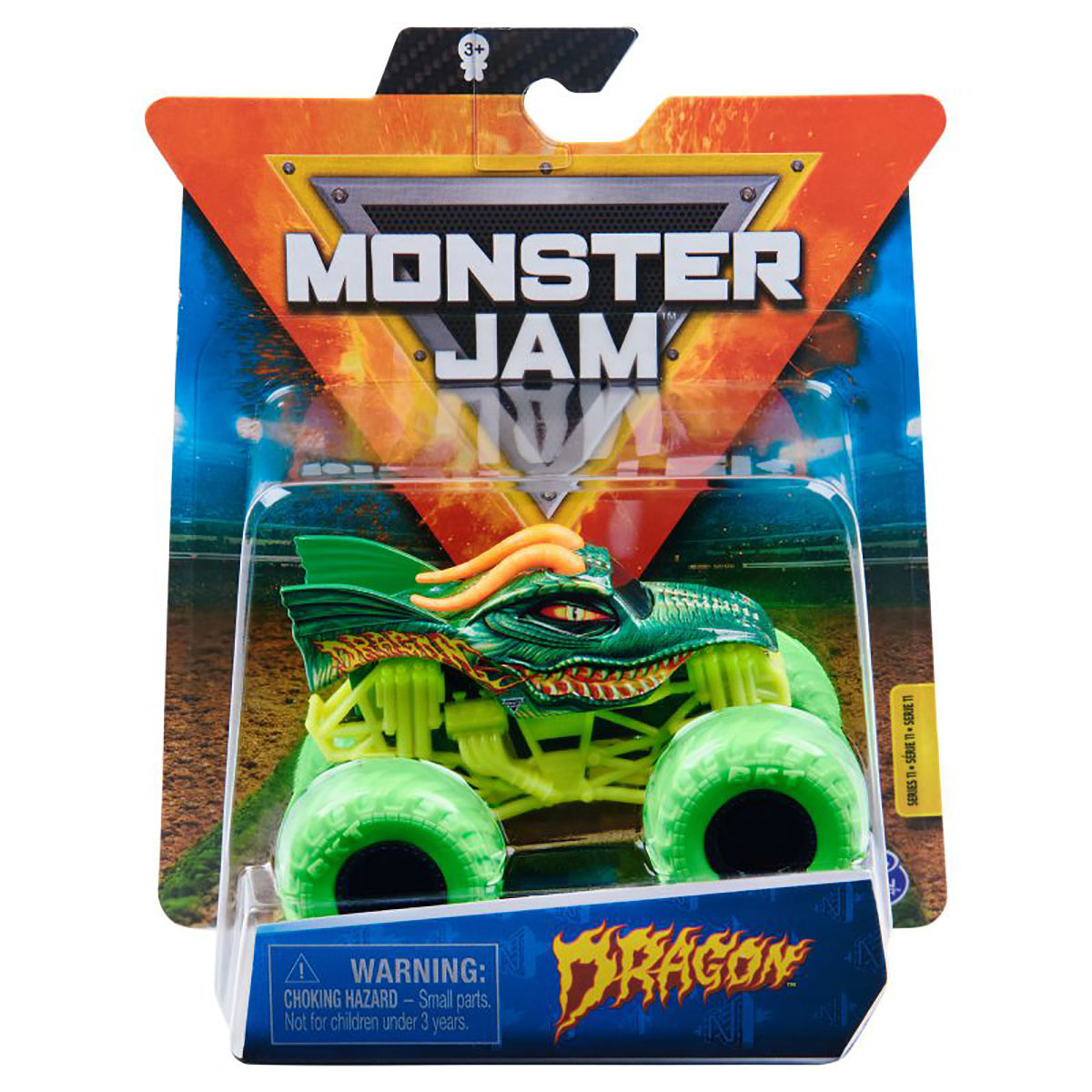 Masinuta Monster Jam, Scara 1:64, Dragon, Verde