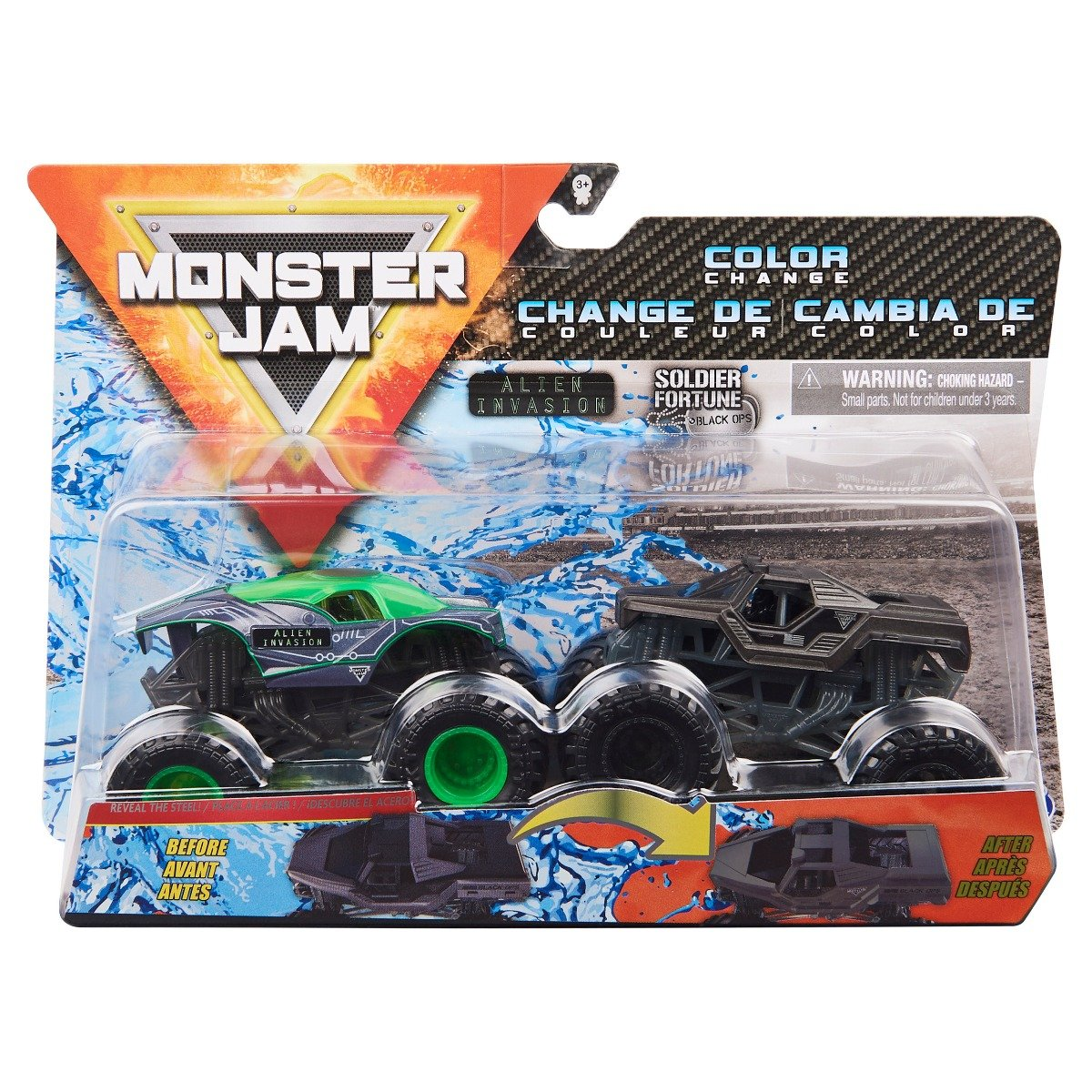 Set 2 masini Monster Jam, Scara 1:64, Alien Invasion si Soldier Fortune