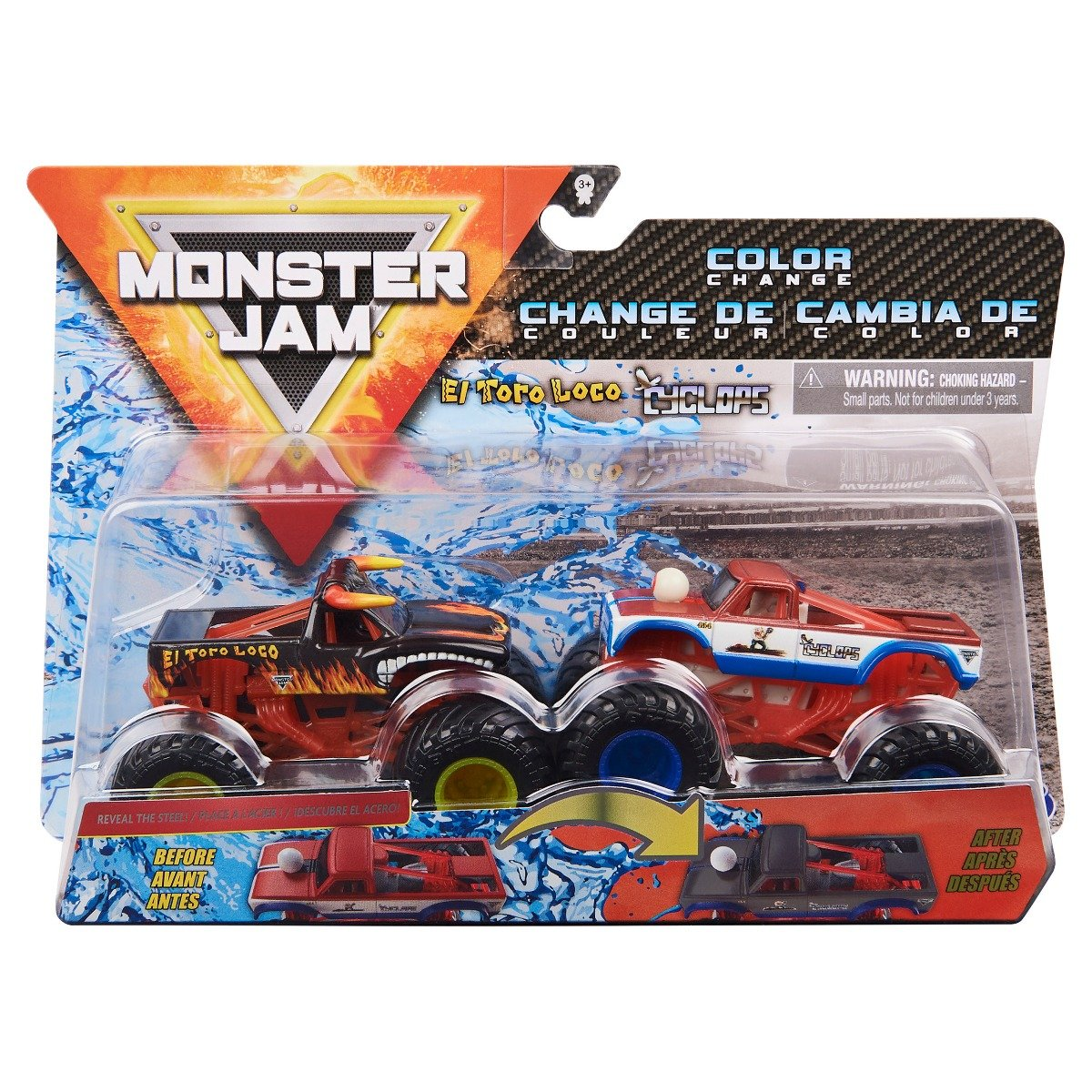 Set 2 masini Monster Jam, Scara 1:64, El Toro Loco si Cyclops