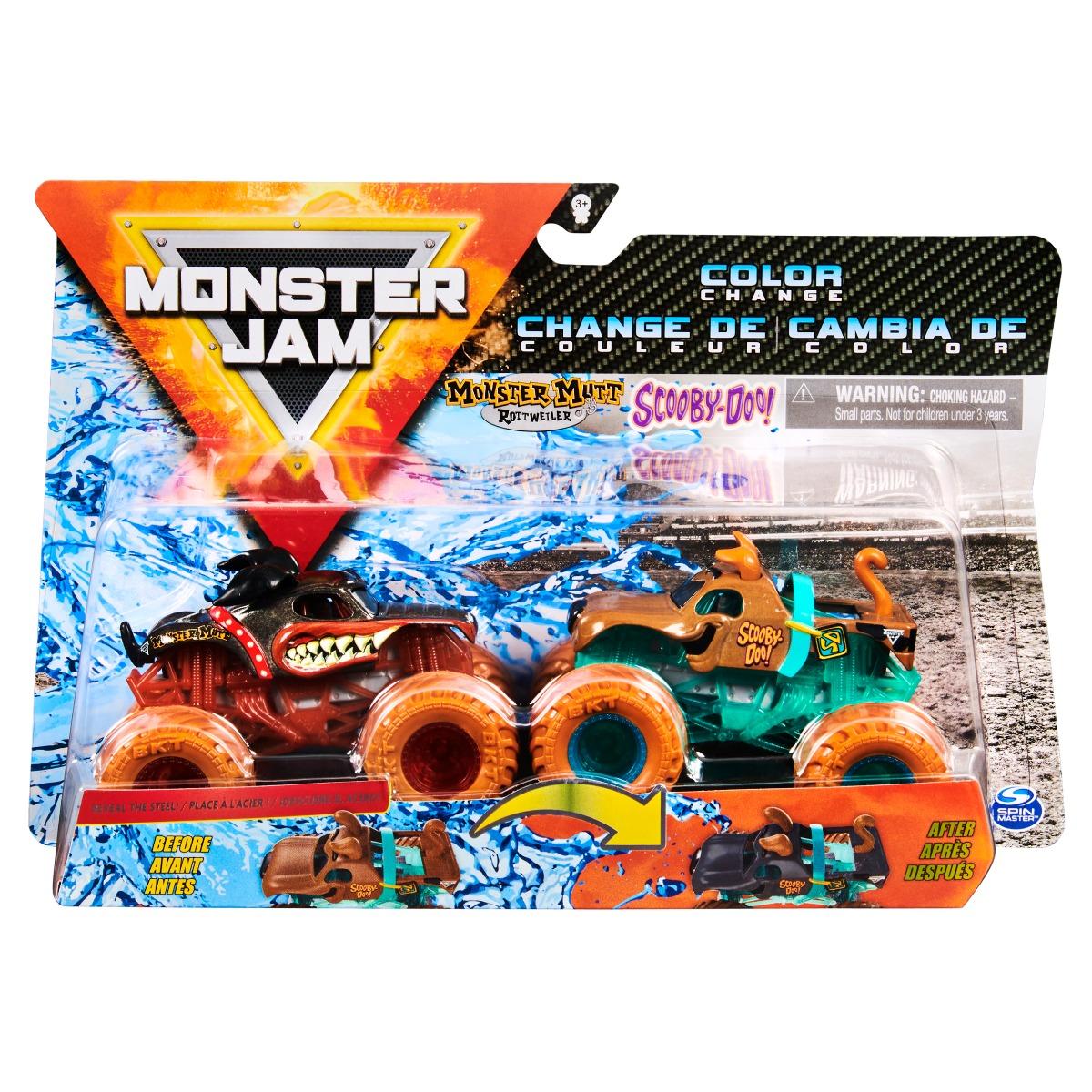 Set 2 masini Monster Jam, Scara 1:64, Monster Mutt si Scooby Doo
