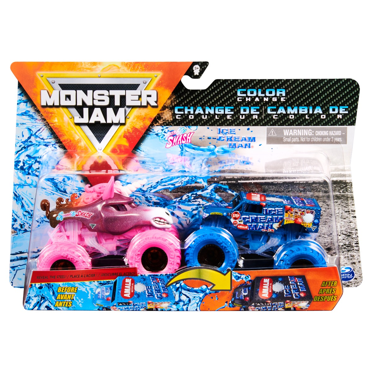 Set 2 masini Monster Jam, Scara 1:64, Sparkle Smash si Ice Cream Man