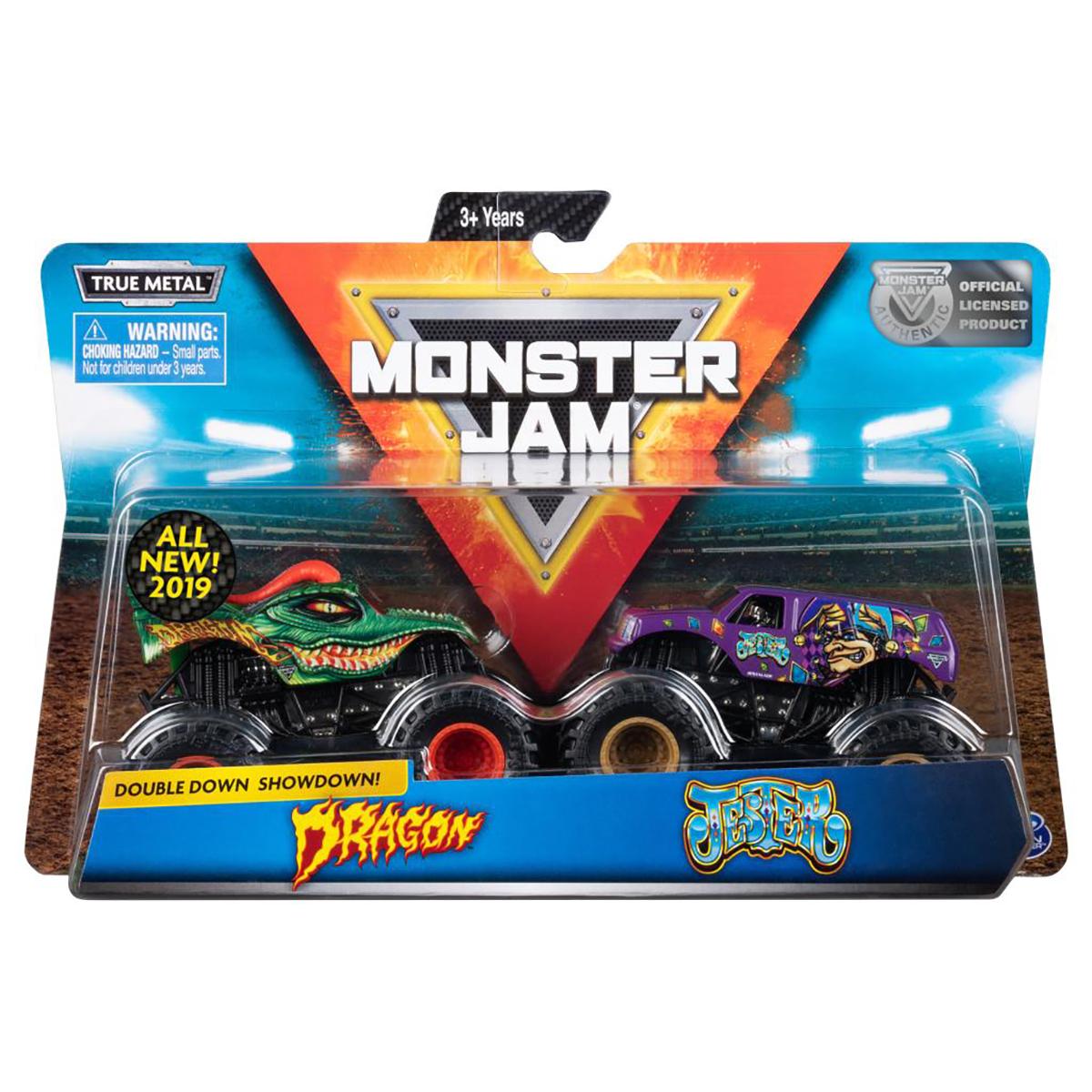 Set 2 masini Monster Jam, Scara 1:64, Dragon si Jester