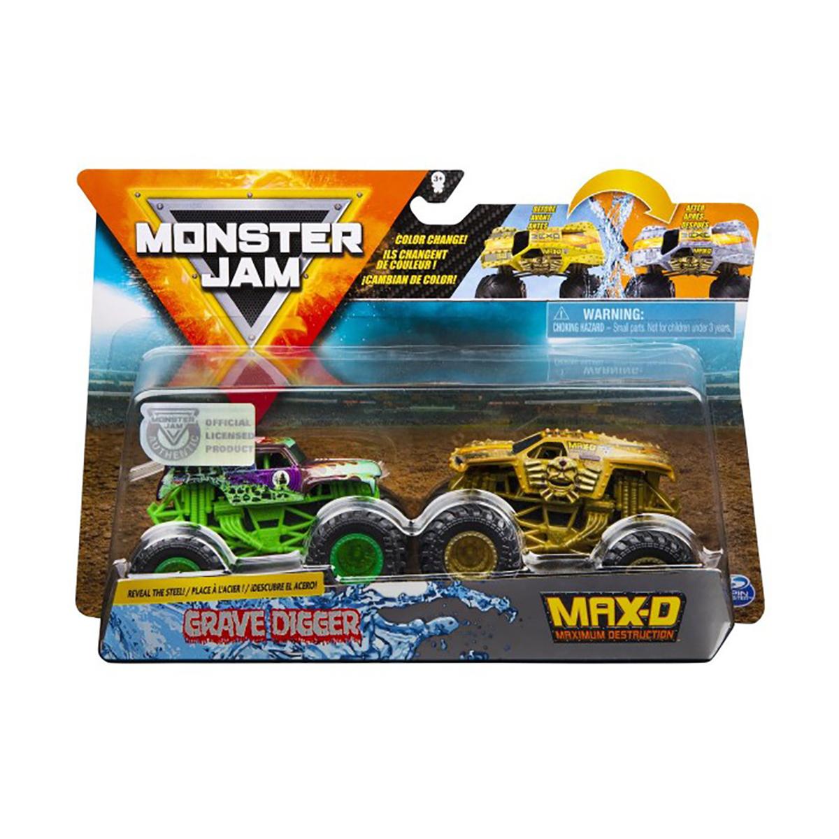 Set 2 masini Monster Jam, Scara 1:64, Grave Digger si Max-D