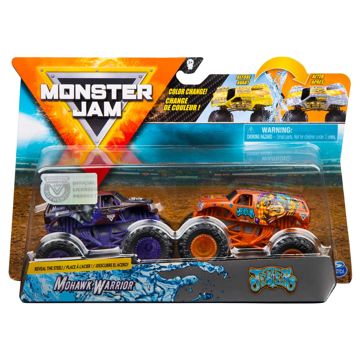 Set 2 masini Monster Jam, Scara 1:64, Mohawk Warrior si Jester
