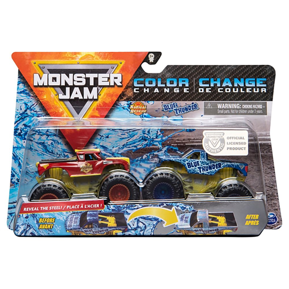 Set 2 masini Monster Jam, Scara 1:64, Radical Rescue si Blue Thunder