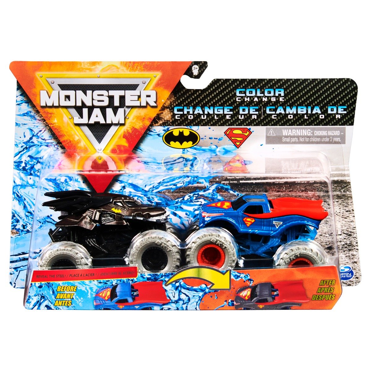 Set 2 masini Monster Jam, Scara 1:64, Batman si Spiderman