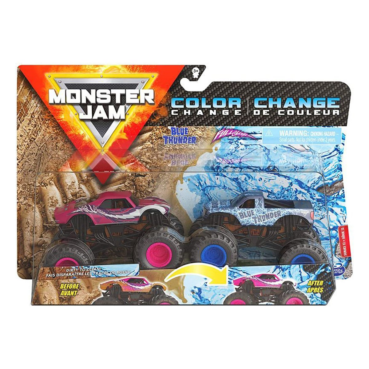 Set 2 masinute Monster Jam, Color Change, Blue Thunder si Full Charge, 20128652