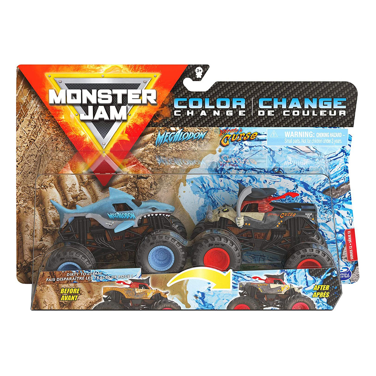 Set 2 masinute Monster Jam, Color Change, Megalodon si Pirate's Curs, 20128653