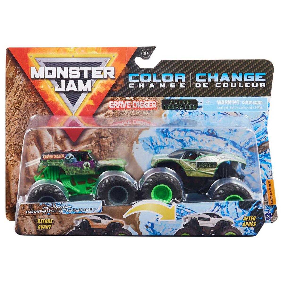 Set 2 masini Monster Jam, Scara 1:64, Grave Digger & Alien Invasion