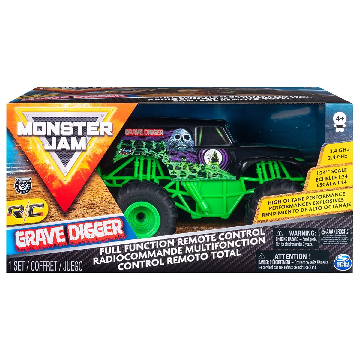Masinuta cu telecomanda Monster Jam, Grave Digger, 1:24