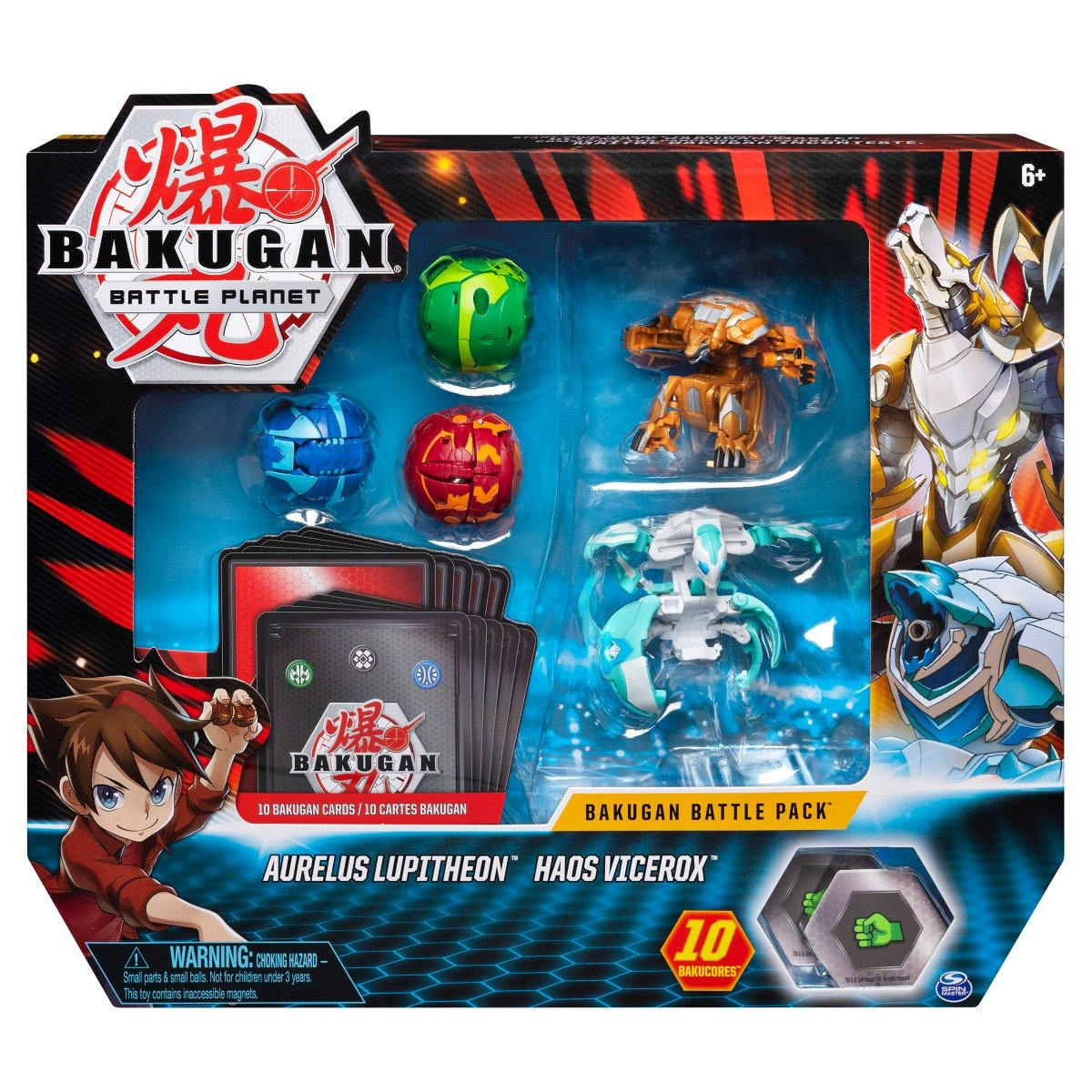 Set 5 Bakugan Battle Planet, Aurelus Lupitheon, Haos Vicerox, 20115152 imagine 2021