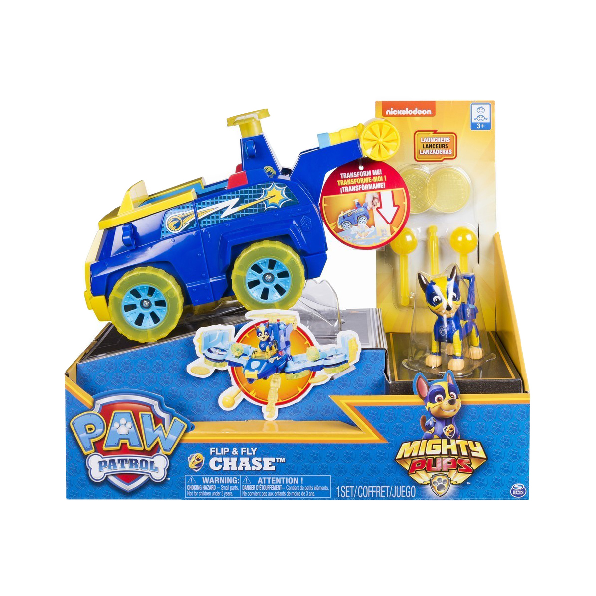 Set 2 in 1 Vehicul Flip And Fly si figurina Paw Patrol, Chase