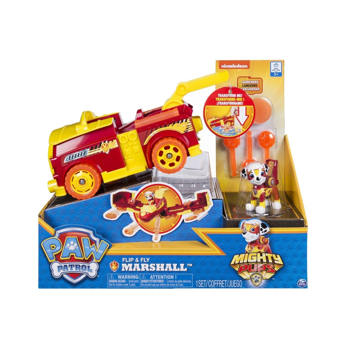 Set 2 in 1 Vehicul Flip And Fly si figurina Paw Patrol, Marshal
