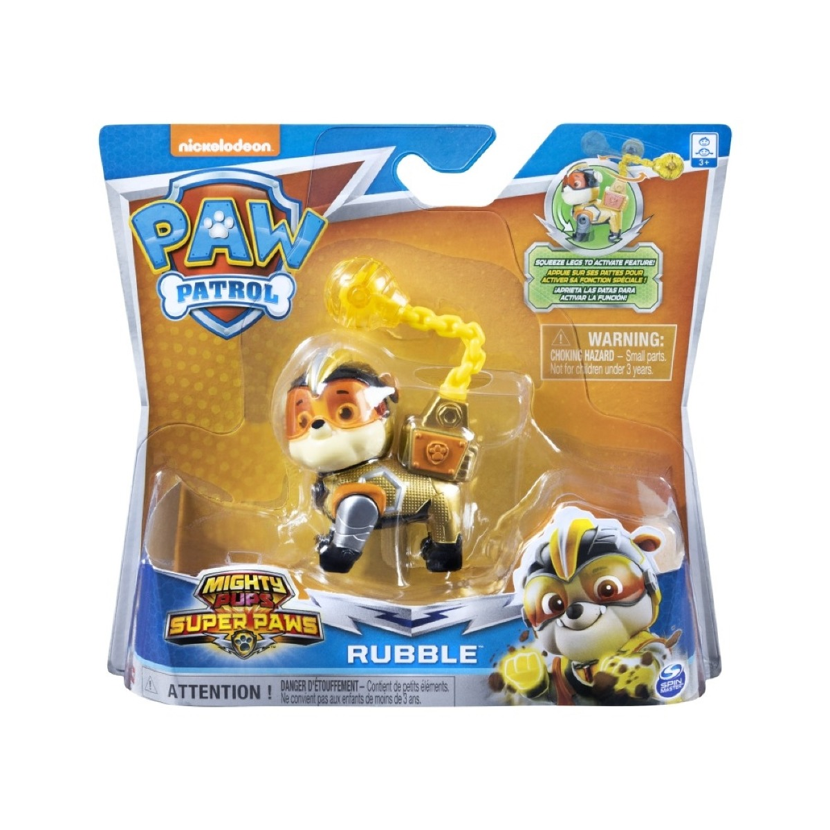 Figurina Paw Patrol Mighty Pups Super Paws, Rubble 20114285