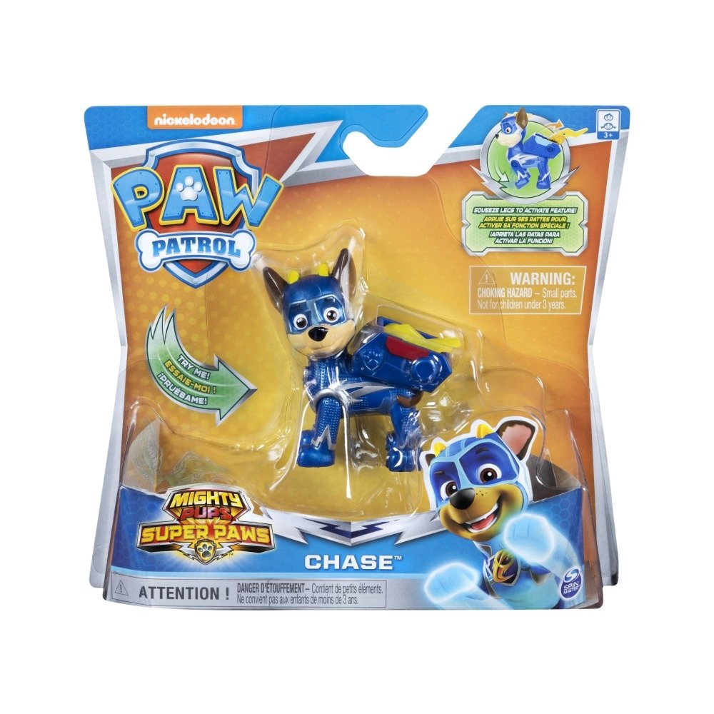 Figurina Paw Patrol Mighty Pups Super Paws, Chase 20114286