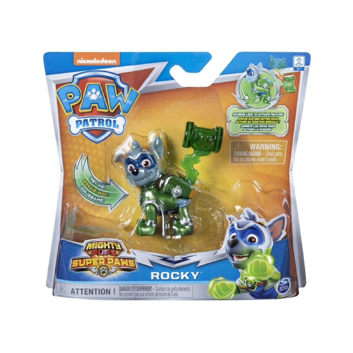 Figurina Paw Patrol Mighty Pups Super Paws, Rocky 20114288