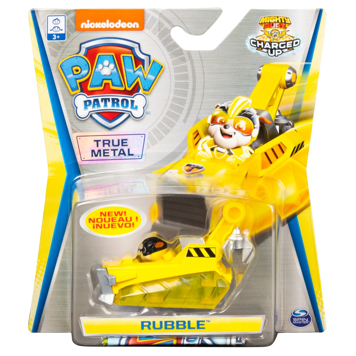 Masinuta cu figurina Paw Patrol True Metal, Rubble 20121340