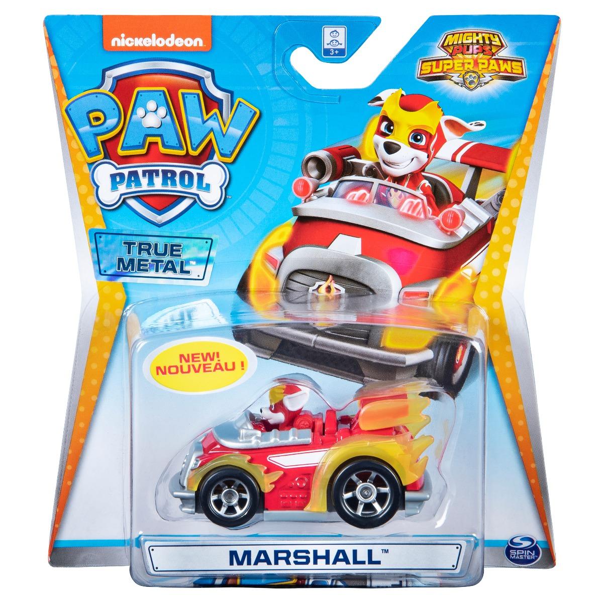 Masinuta cu figurina Paw Patrol True Metal, Marshall 20127212