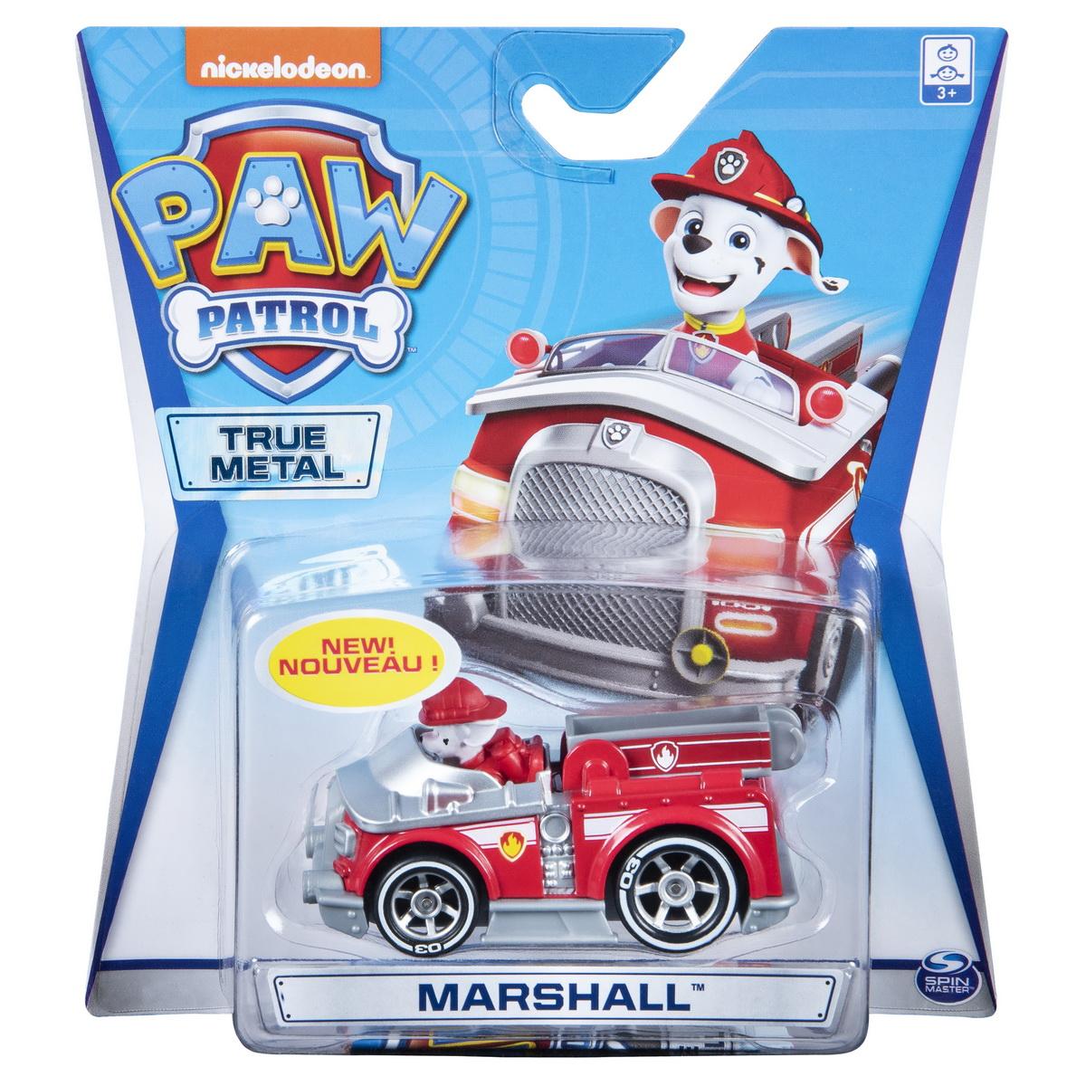 Masinuta cu figurina Paw Patrol True Metal, Marshall, 20127202