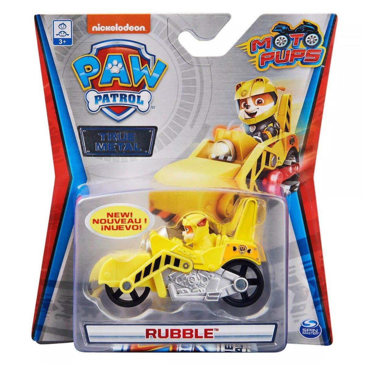 Masinuta cu figurina Paw Patrol True Metal, Rubble, 20130496