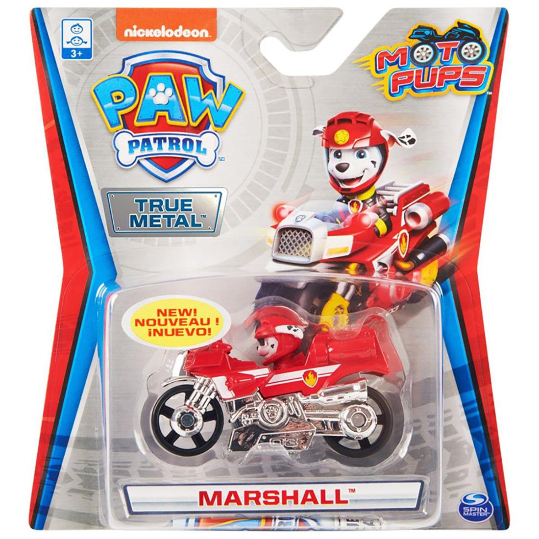 Masinuta cu figurina Paw Patrol True Metal, Marshall, 20134623