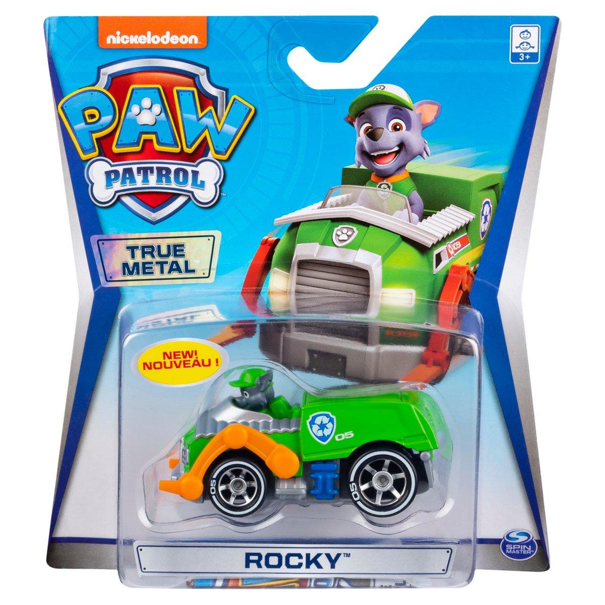 Masinuta cu figurina Paw Patrol True Metal, Rocky, 20127213