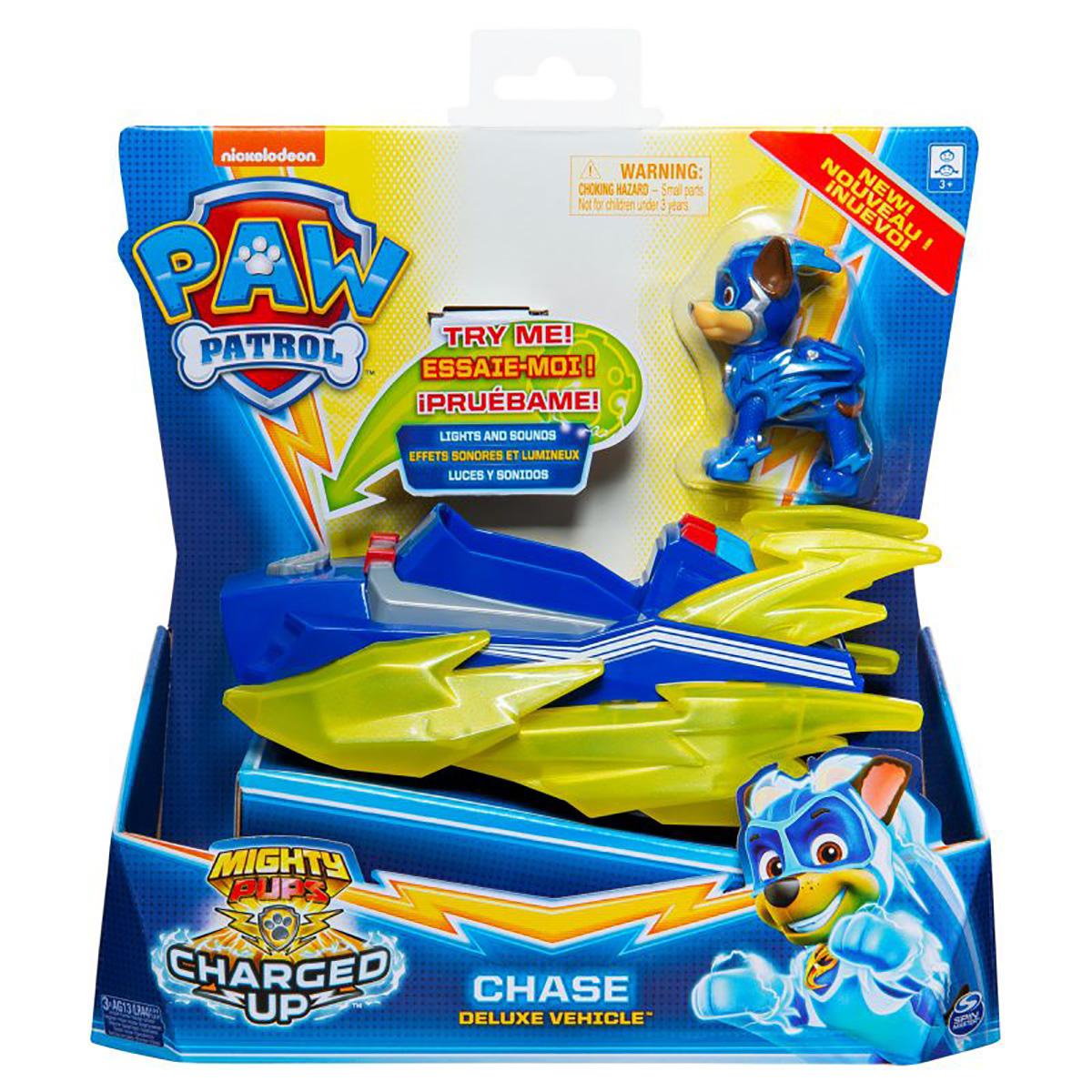 Figurina cu vehicul Paw Patrol Deluxe Vehicle Mighty Pups, Chase 20121272
