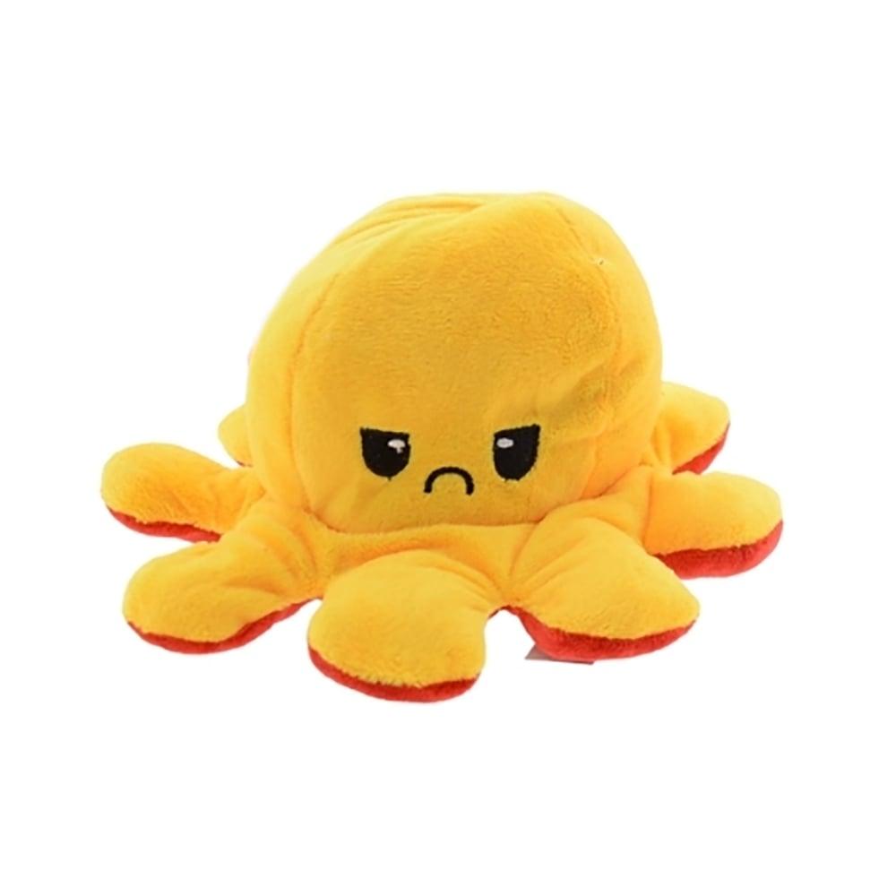 Jucarie de plus cu doua fete Octopus Flip Flop, Caracatita, Galben, 20 cm