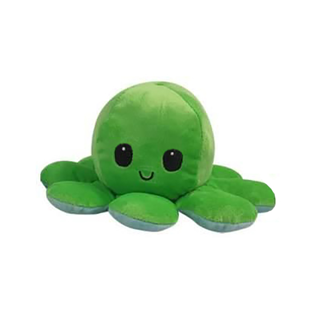 Jucarie de plus cu doua fete Octopus Flip Flop, Caracatita, Verde, 20 cm