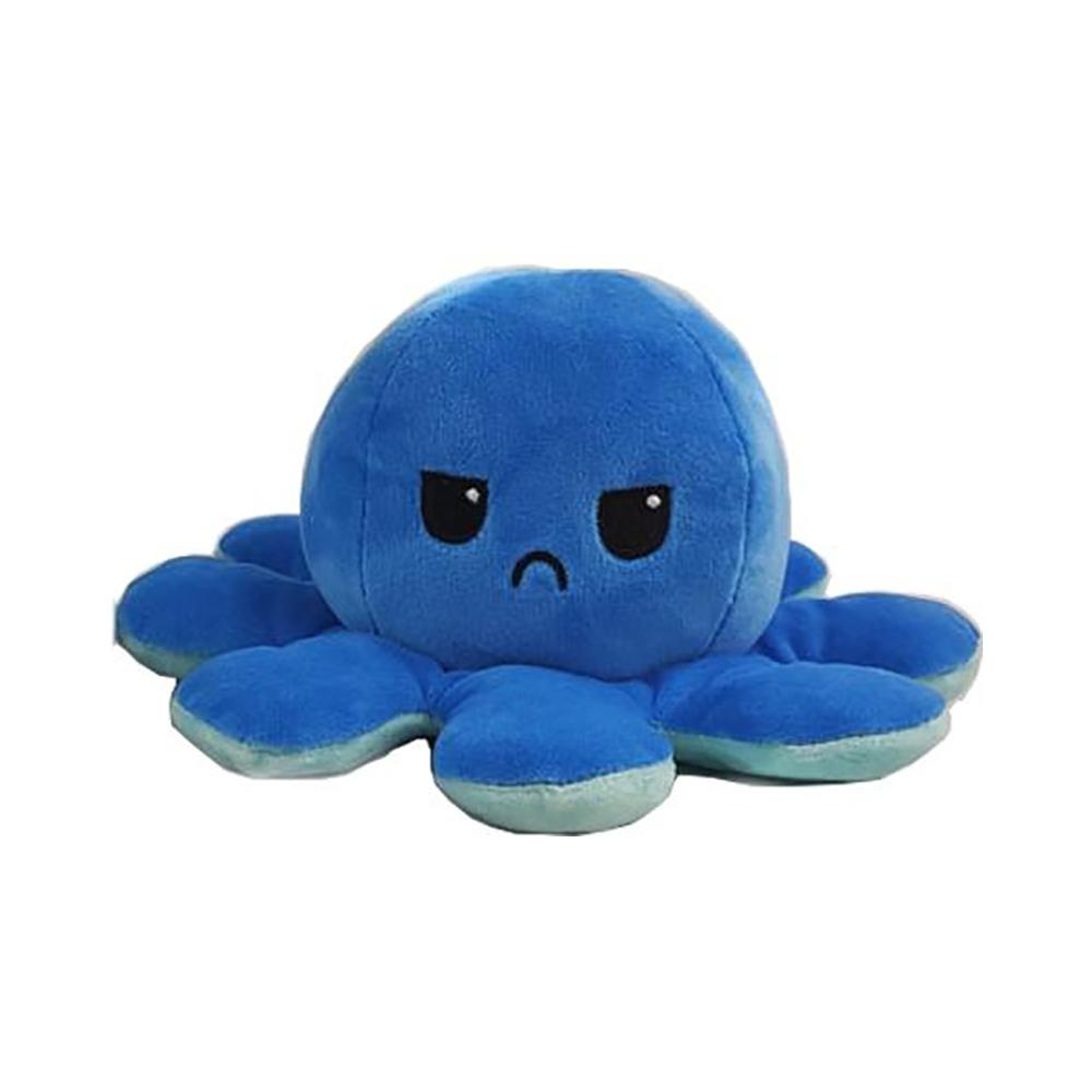 Jucarie de plus cu doua fete Octopus Flip Flop, Caracatita, Albastru, 20 cm