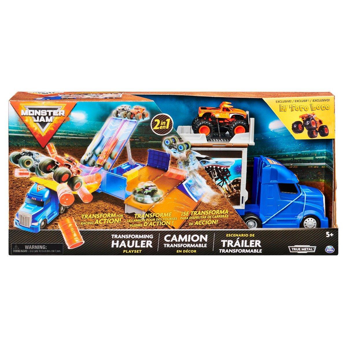Set de joaca Monster Jam, Camion cu masinuta El Toro Loco