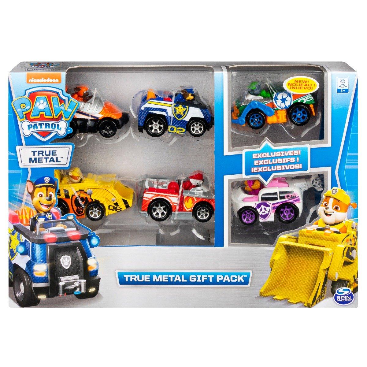 Set de masinute cu figurina Paw Patrol True Metal Gift Back