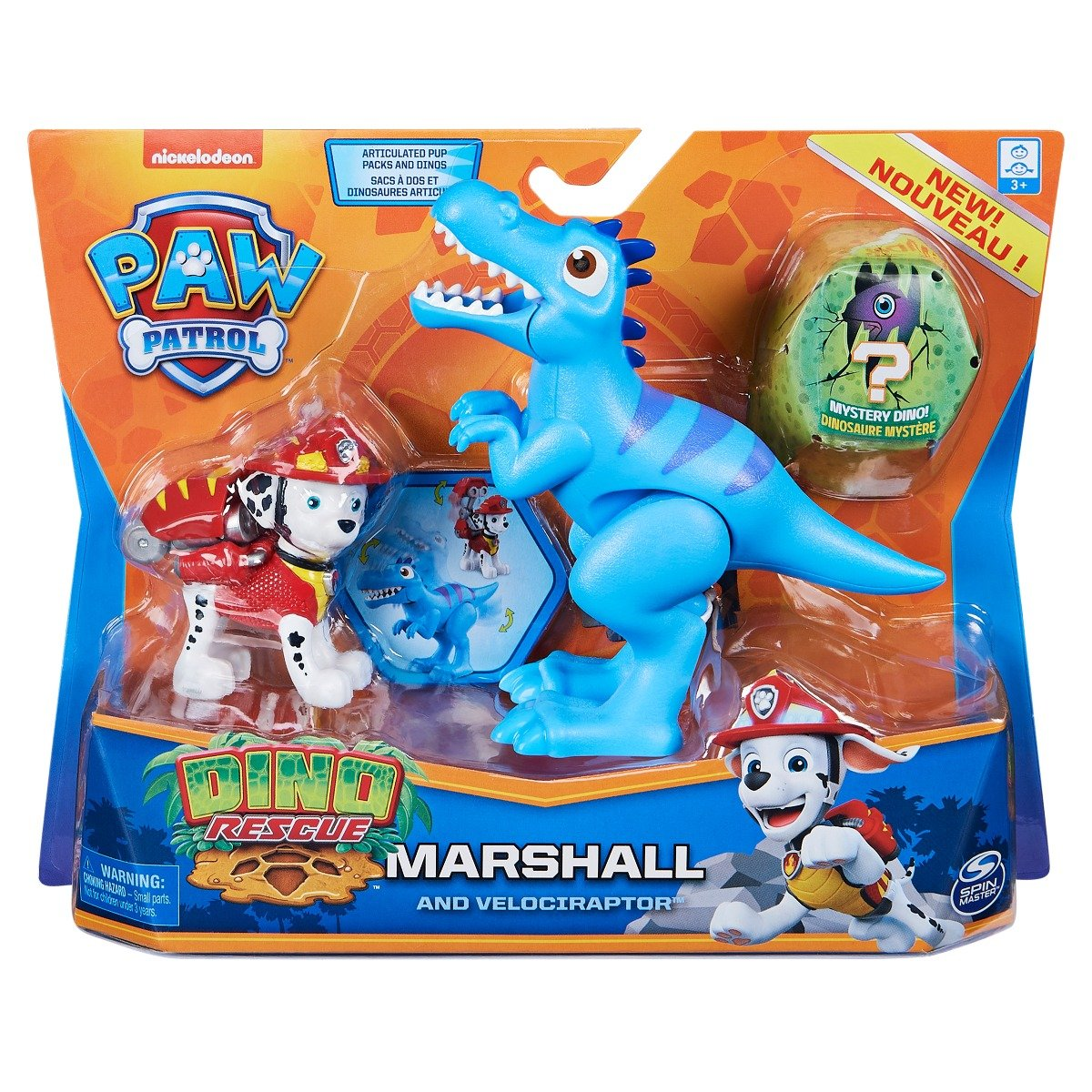 Set 2 figurine Paw Patrol Dino Rescue, Marshall and Velociraptor, 20126400