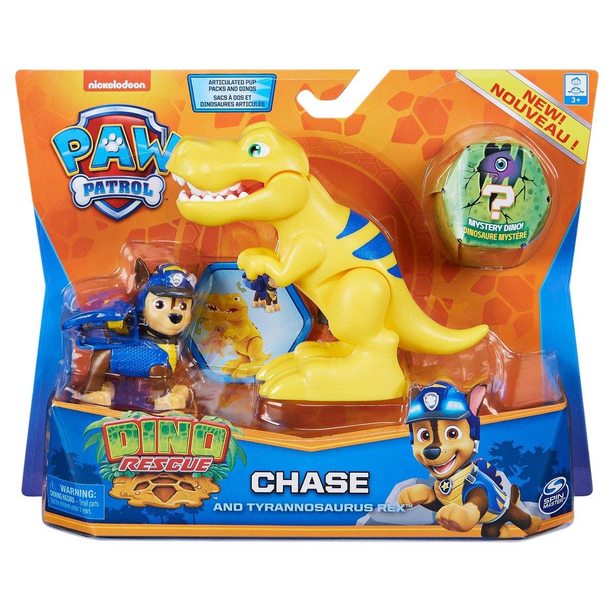 Set 2 figurine Paw Patrol Dino Rescue, Chase and Tyrannosaurus Rex, 20126399
