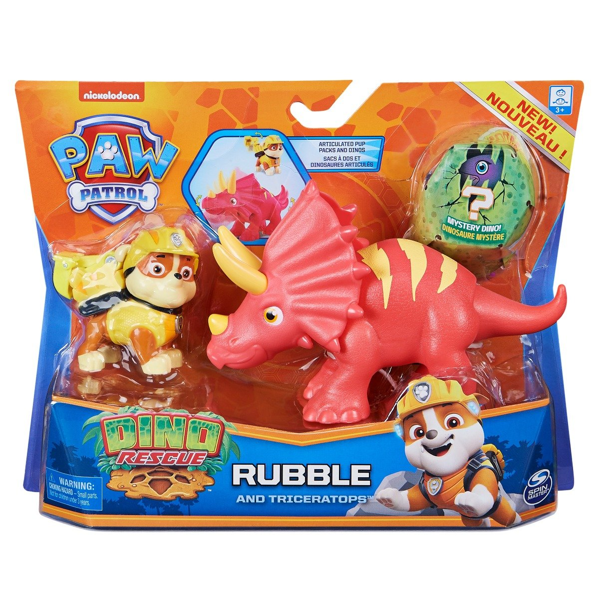 Set 2 figurine Paw Patrol Dino Rescue, Rubble and Triceratops, 20126404