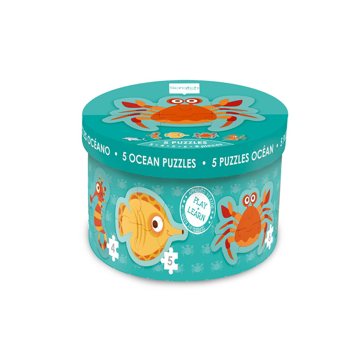 Set 5 puzzle-uri Scratch, Ocean, 26 piese