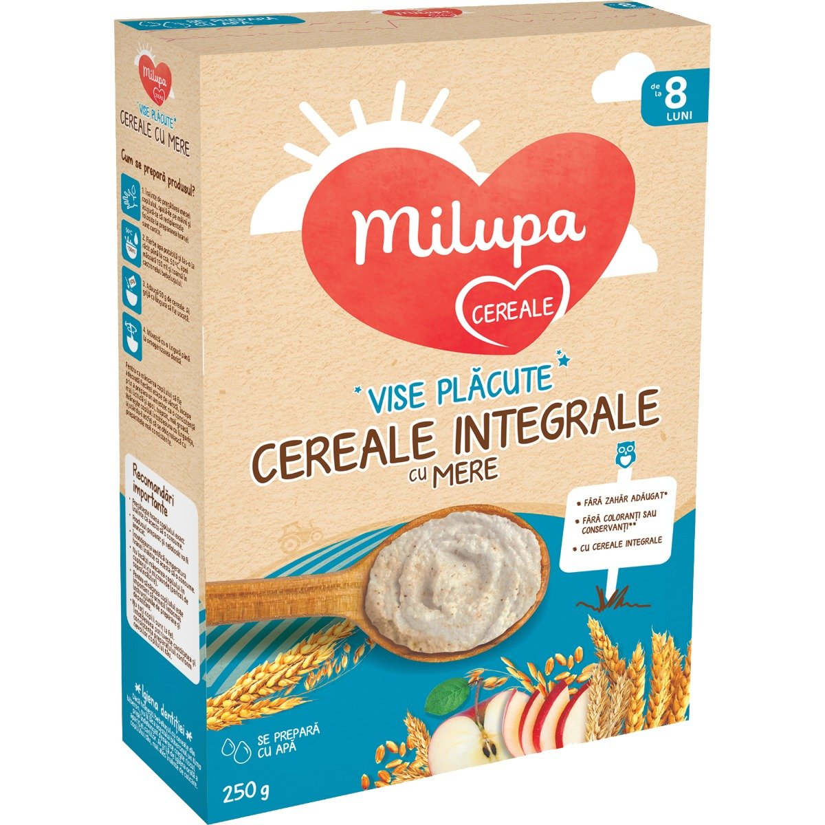 Cereale integrale cu mere Milupa, Vise placute, 250 g imagine