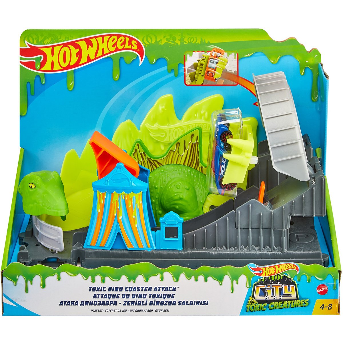 Set de joaca Circuit cu obstacole Hot Wheels City, Toxic Dino Coaster Attack (GTT68)